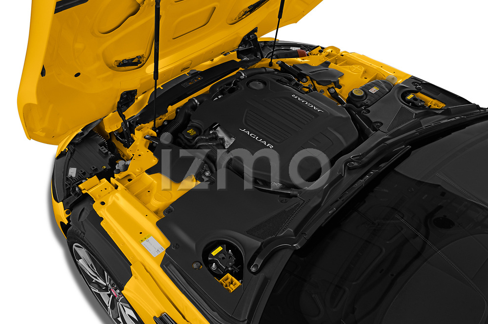 Car Stock 2020 Jaguar F-Type R 2 Door Coupe Engine  high angle detail view