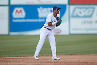 Lynchburg Hillcats shortstop Yordys Valdes (7) on defense against the Myrtle Beach Pelicans at Bank of the James Stadium on May 23, 2021 in Lynchburg, Virginia. (Brian Westerholt/Four Seam Images)