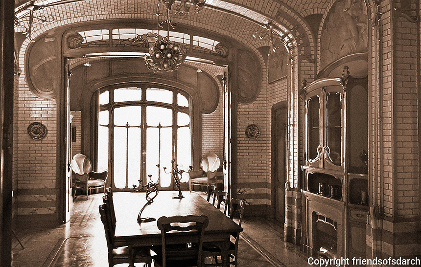 Interior of Maison Atelier, one of Victor Horta's Art Nouveau townhouses designed for a specific client. Brussels, Belgium, 1895-1898.