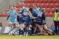 8th January 2021; AJ Bell Stadium, Salford, Lancashire, England; English Premiership Rugby, Sale Sharks versus Worcester Warriors; Faf de Klerk of Sale Sharks clears the ball