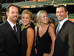 Geoff and Marcia Geary with Heather and Jeff Sampson at the Astros Wives Gala at Minute Maid Park Thursday July 31,2008. (Dave Rossman/For the Chronicle)