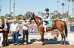 ARCADIA, CA  JULY 5:  #5 Gamine, ridden by John Velazquez, in the winners circle after winning the Great Lady M Stakes (Grade ll) on July 5, 2021 at Los Alamitos Race Course in Los Alamitos, CA.  (Photo by Casey Pnillips/ Eclipse Sportswire/ CSM)