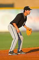 Shortstop Michael Johnson #25 of the Bristol White Sox on defense against the Burlington Royals at Burlington Athletic Park on July 9, 2011 in Burlington, North Carolina.  The Royals defeated the White Sox 3-2.   (Brian Westerholt / Four Seam Images)