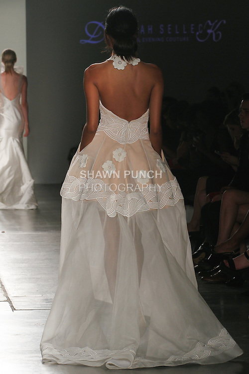Model walks runway in an outfit from the Deborah Selleck Couture collection, for Fashion Palette Australian Evening & Bridal Show Spring Summer 2016, duing New York Fashion Week Spring 2016.