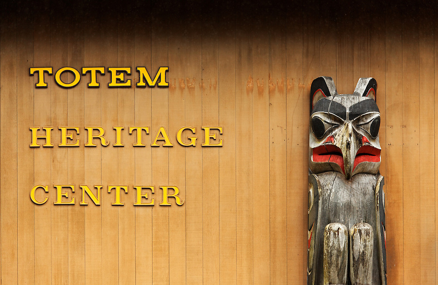 Totem pole outside Totem Heritage Center, Ketchikan, Alaska