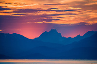 Sunset behind the Chilkat Mountains, Lynn Canal, Southeast, Alaska