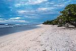A remote coastal beach on the island of Kiritimati in Kiribati