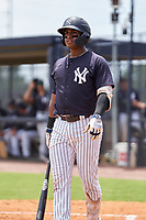 FCL Yankees Raimfer Salinas (31) bats during a game against the FCL Tigers East on July 27, 2021 at the Yankees Minor League Complex in Tampa, Florida. (Mike Janes/Four Seam Images)