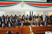 Old president Ronald Runaldo Venetiaan and his cabinet members are waiting for new presidential voting start.....Desi Bouterse (Desiré Delano Bouterse) chosen as new president of Suriname by De Nationale Assemblée (DNA) / The National Assemble of Suriname. He took 36 votes of 51 as leader of the Mega Combination. ....Robert_Ameerali the head of KKF (Kamer van Koophandel en Fabrieken) / Chamber of Commerce and Industry also selected as Vice President.....Desi Bouterse (Desiré Delano Bouterse) will sworn at 3 August 2010