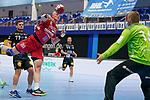 07.10.2020, Klingenhalle, Solingen,  GER, 1. HBL. Herren, Bergischer HC vs. HC Erlangen, <br /> <br /> im Bild / picture shows: <br /> Sebastian Firnhaber (HC Erlangen #18), mit einem Torwurf gegen Tomas Mrvka (BHC #16),  <br /> <br /> <br /> Foto © nordphoto / Meuter *** Local Caption ***