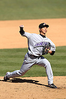 Akron Aeros pitcher Toru Murata #28 delivers a pitch during a game against the Binghamton Mets at NYSEG Stadium on April 7, 2012 in Binghamton, New York.  Binghamton defeated Akron 2-1.  (Mike Janes/Four Seam Images)