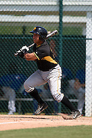 Pittsburgh Pirates Francisco Diaz (31) during a minor league spring training game against the Toronto Blue Jays on March 21, 2015 at Pirate City in Bradenton, Florida.  (Mike Janes/Four Seam Images)