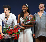 Orlando Bloom, Condola Rashad & Brent Carver during the Broadway Opening Night Performance Curtain Call for 'Romeo and Juliet' at the Richard Rodgers Theatre in New York City on September 19, 2013.