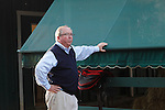 May 17, 2013, morning activities at Pimlico on Friday before the Preakness. Trainer Shug McGaughey watches as Orb gets a bath after his Friday morning gallop at Pimlico Race Course in Baltimore, MD. (Joan Fairman Kanes/Eclipse Sportswire)