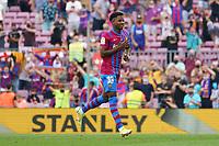 26th September 2021; Nou Camp, Barcelona, Spain: La Liga football, FC Barcelona versus Levante:   Ansu Fati celebration after scoring for 3-0 in the in the 91st minute