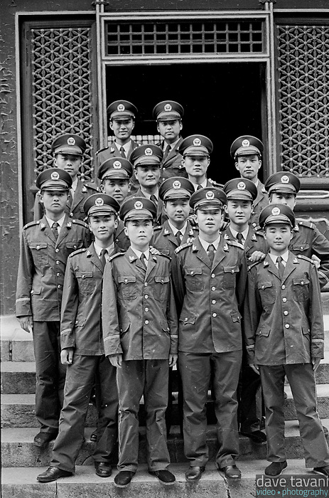 A group of army cadets stopped for a photo op while they toured the Forbidden City in Beijing, China, May 8, 1999.