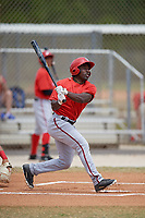 Washington Nationals Daniel Johnson (6) follows through on a swing during a minor league Spring Training game against the St. Louis Cardinals on March 27, 2017 at the Roger Dean Stadium Complex in Jupiter, Florida.  (Mike Janes/Four Seam Images)