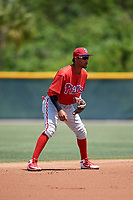 Philadelphia Phillies Jonathan Guzman (8) during a Minor League Extended Spring Training game against the Pittsburgh Pirates on May 3, 2018 at Pirate City in Bradenton, Florida.  (Mike Janes/Four Seam Images)