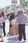 FOUR MEN PLAY ON STREETS OF SAN FELIPE MEXICO