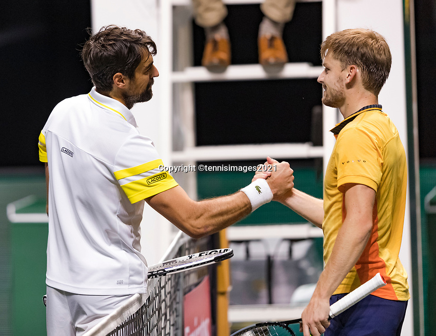Rotterdam, The Netherlands, 4 march  2021, ABNAMRO World Tennis Tournament, Ahoy, Second round match: David Goffin (BEL) vs. Jeremy Chardy (FRA). Photo: www.tennisimages.com/