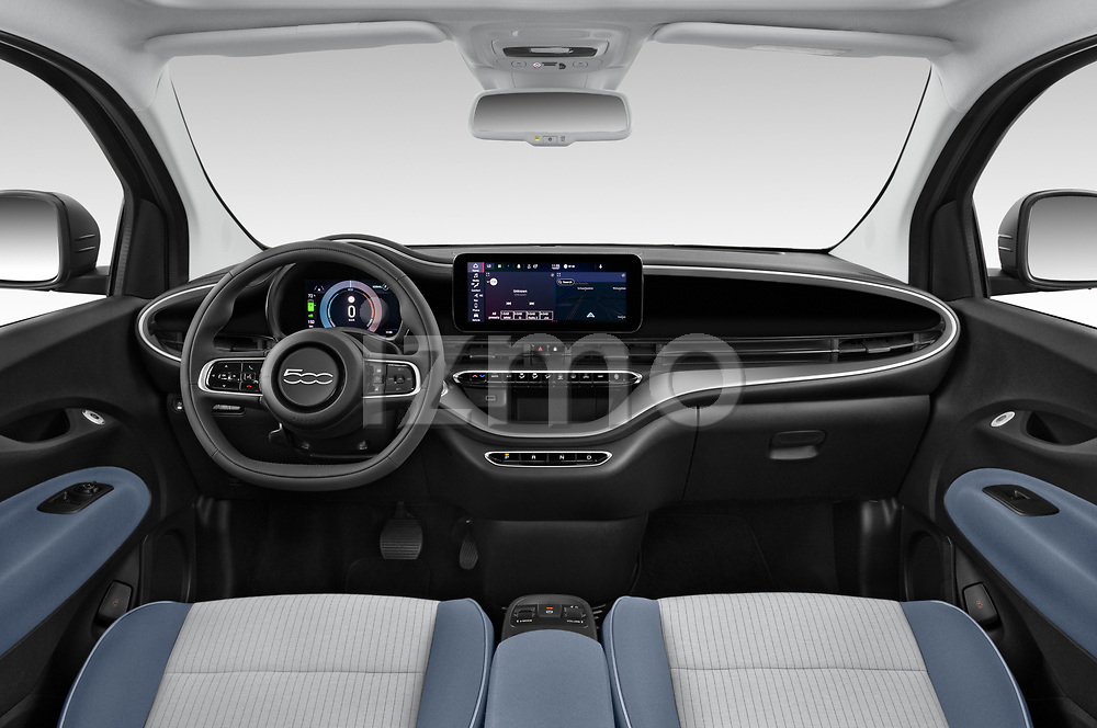 Stock photo of straight dashboard view of 2021 Fiat 500 Icon 3 Door Hatchback Dashboard
