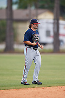 Atlanta Braves Jaff Decker (4) during a Minor League Spring Training game against the Detroit Tigers on March 19, 2018 at the TigerTown Complex in Lakeland, Florida.  (Mike Janes/Four Seam Images)