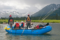 Flyfishers rafting down the upper Skeena River, British Columbia, Canada.