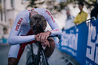 Dawid Kuderczak (POL)<br /> <br /> post-race battlefield in the finish zone<br /> <br /> MEN JUNIOR INDIVIDUAL TIME TRIAL<br /> Hall-Wattens to Innsbruck: 27.8 km<br /> <br /> UCI 2018 Road World Championships<br /> Innsbruck - Tirol / Austria