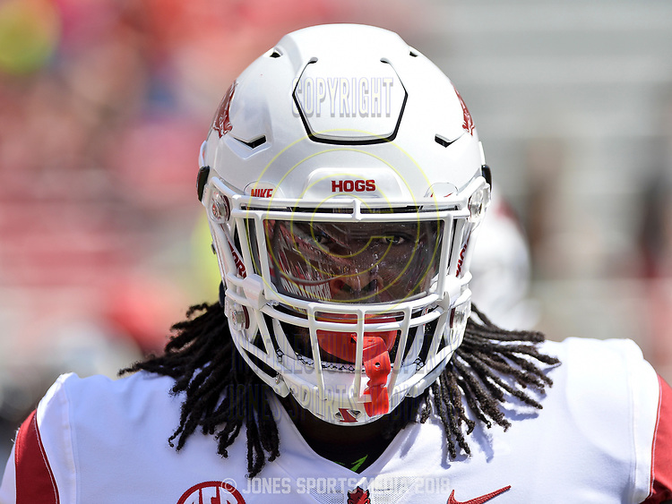 Arkansas defensive tackle MCTELVIN AGIM during warm-ups before Saturday's game against Eastern Illinois at Donald W. Reynolds Razorback Stadium in Fayetteville.