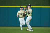 Ethan Paul (10) of the Vanderbilt Commodores on defense against the Houston Cougars during game nine of the 2018 Shriners Hospitals for Children College Classic at Minute Maid Park on March 3, 2018 in Houston, Texas. The Commodores defeated the Cougars 9-4. (Brian Westerholt/Four Seam Images)
