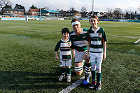Ryan Smid of Ealing Trailfinders with mascots during the Championship Cup Quarter Final match between Ealing Trailfinders and Nottingham Rugby at Castle Bar , West Ealing , England  on 2 February 2019. Photo by Carlton Myrie / PRiME Media Images.