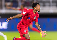 WASHINGTON, DC - OCTOBER 11: Weston McKennie #8 of the United States  celebrates a goal during a game between Cuba and USMNT at Audi Field on October 11, 2019 in Washington, DC.