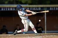 Ryan Parquette (29) (Campbell) of the High Point-Thomasville HiToms hits the ball of the end of his bat during the game against the Statesville Owls at Finch Field on July 19, 2020 in Thomasville, NC. The HiToms defeated the Owls 21-0. (Brian Westerholt/Four Seam Images)