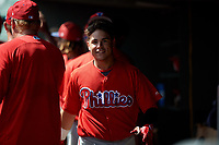Philadelphia Phillies Rafael Marchan (6) in the dugout after hitting a home run during a Florida Instructional League game against the Baltimore Orioles on October 4, 2018 at Ed Smith Stadium in Sarasota, Florida.  (Mike Janes/Four Seam Images)