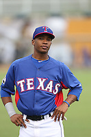 Darius Day #6 of the AZL Rangers during a game against the AZL Cubs at Surprise Stadium on July 6, 2014 in Surprise, Arizona. AZL Rangers defeated the AZL Cubs, 7-5. (Larry Goren/Four Seam Images)