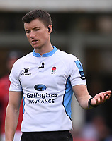 25th September 2021; The Recreation Ground, Bath, Somerset, England; Gallagher Premiership Rugby, Bath versus Newcastle Falcons; Referee Craig Maxwell-Keys watches a replay on the big screen
