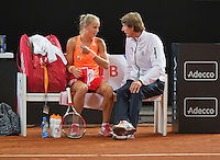 Februari 07, 2015, Apeldoorn, Omnisport, Fed Cup, Netherlands-Slovakia, Dutch beng with Arantxa Rus (NED)  and captain Paul Haarhuis<br /> Photo: Tennisimages/Henk Koster