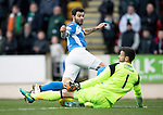 St Johnstone v Celtic…05.02.17     SPFL    McDiarmid Park<br />Richie Foster is denied by Craig Gordon's legs<br />Picture by Graeme Hart.<br />Copyright Perthshire Picture Agency<br />Tel: 01738 623350  Mobile: 07990 594431