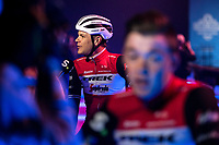 Jasper Stuyven (BEL/Trek Segafredo) pre race sporza interview at the pre race team presentation. <br /> <br /> 74th Omloop Het Nieuwsblad 2019 (BEL)<br /> Gent – Ninove: 200km<br /> ©kramon
