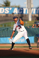 Jesus Tinoco (44) of the Lancaster JetHawks pitches against the Modesto Nuts at The Hanger on May 11, 2017 in Lancaster, California. Lancaster defeated Modesto, 6-0. (Larry Goren/Four Seam Images)