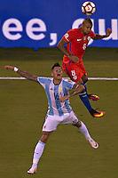 Action photo during the match Argentina vs Chile corresponding to the Final of America Cup Centenary 2016, at MetLife Stadium.<br /> <br /> Foto durante al partido Argentina vs Chile cprresponidente a la Final de la Copa America Centenario USA 2016 en el Estadio MetLife , en la foto:(i-d) Marcos Rojo de Argentina y Arturo Vidal de Chile<br /> <br /> <br /> 26/06/2016/MEXSPORT/JAVIER RAMIREZ