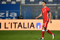 Robert Lewandowski of Poland looks on during the Uefa Nation League Group Stage A1 football match between Italy and Poland at Citta del Tricolore Stadium in Reggio Emilia (Italy), November, 15, 2020. Photo Andrea Staccioli / Insidefoto