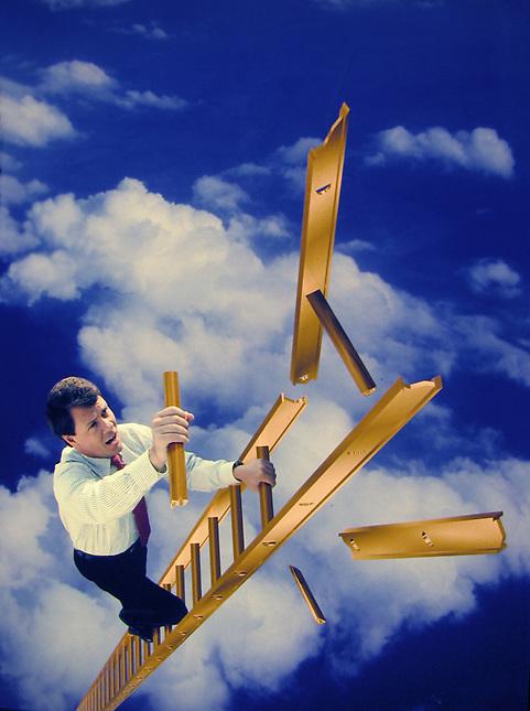 Man climbing decintigrating ladder