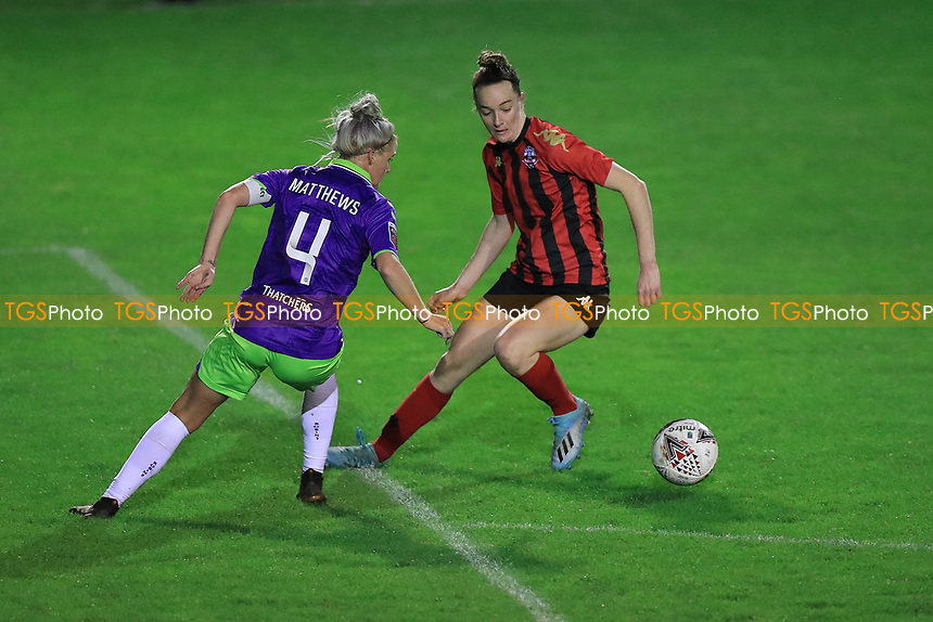 Jasmine Matthews of Bristol City defends against Sammy Quayle of Lewes during Lewes Women vs Bristol City Women, FA Women's Continental League Cup Football at The Dripping Pan on 18th November 2020