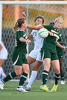 Baylor midfielder Alexa Wilde (7), forward Justine Hovden (20) and TCU midfielder Lauren Sajewich fight the for the ball possession during first half of NCAA soccer game, Friday, October 03, 2014 in Waco, Tex. TCU draw 1-1 against Baylor in double overtime. (Mo Khursheed/TFV Media via AP Images)