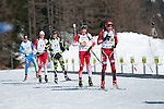 MARTELL-VAL MARTELLO, ITALY - FEBRUARY 03: Athletes arriving at shooting during the Men 12.5 km Pursuit at the IBU Cup Biathlon 6 on February 03, 2013 in Martell-Val Martello, Italy. (Photo by Dirk Markgraf)