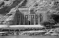 The Small Temple of Hathor and Nefertari before the relocation of 1964 - 1968 - Abu Simbel, Egypt - 21 NOV 1961<br /> <br /> Six huge statues and an entrance.