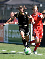 01 August 2009:   Brandi Chastain of the FC Gold Pride in action during the game against Freedom at Buck Shaw Stadium in Santa Clara, California.   FC Gold Pride defeated Washington Freedom, 3-2.