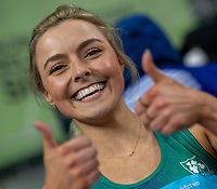 2nd May 2021; Silesian Stadium, Chorzow, Poland; World Athletics Relays 2021. Day 2; Irish athlete Aoife Lynch thumbs up after winning silver in the women's 4 x 200