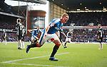 Martyn Waghorn celebrates his last gasp winner for Rangers